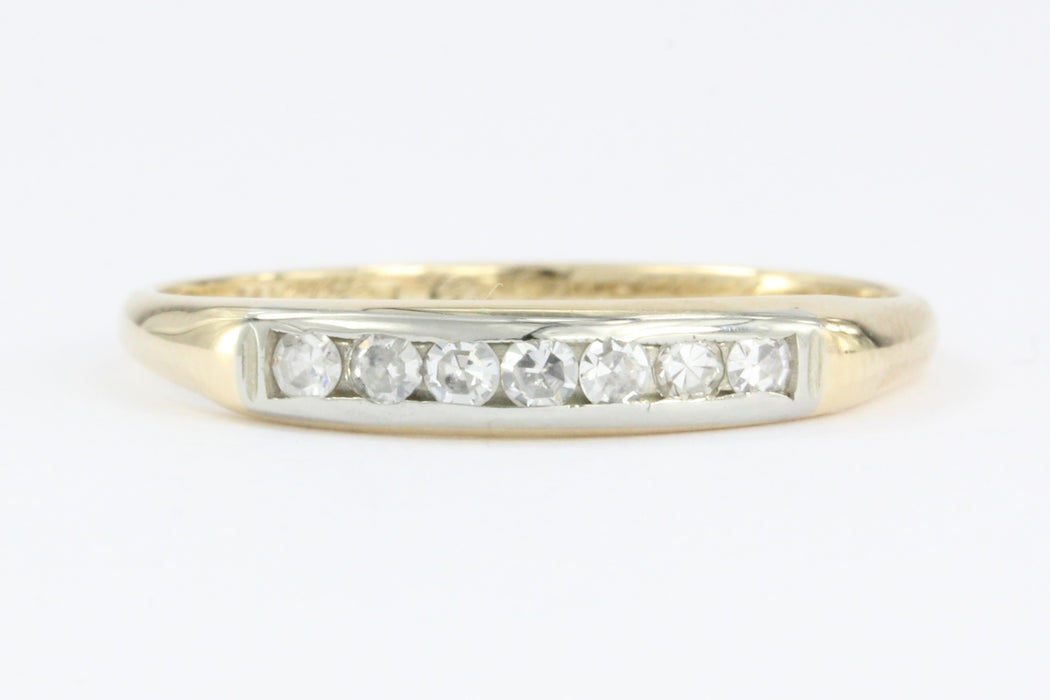 Retro WWII era 14K Gold Diamond Wedding Band c.1940 - Queen May