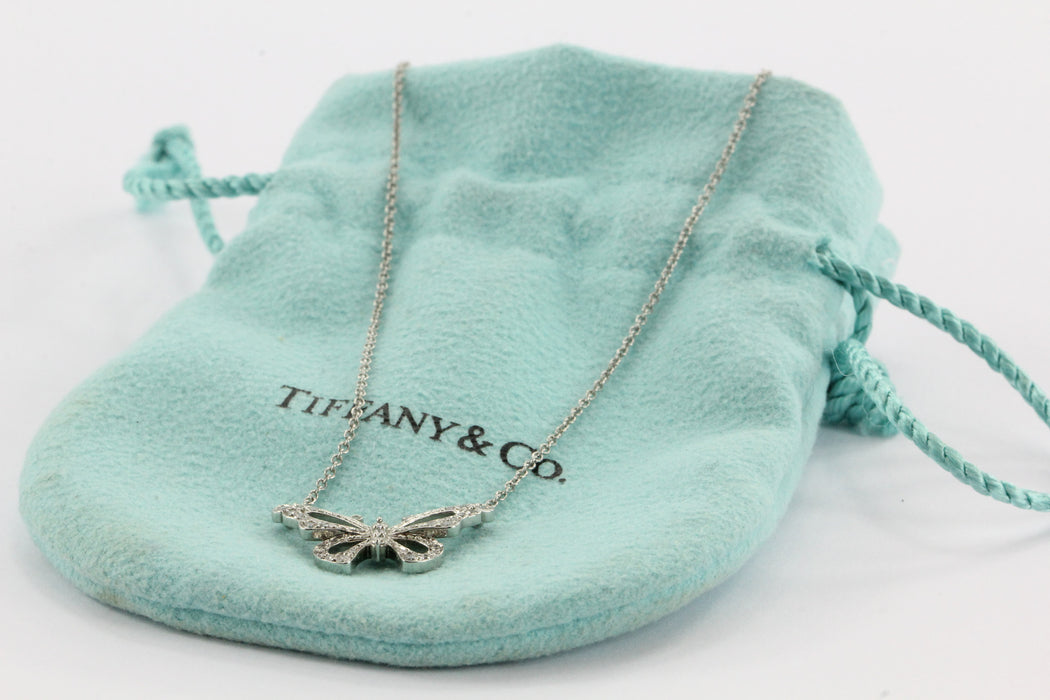 Tiffany & Co Platinum & Diamond Butterfly Pendant Necklace - Queen May