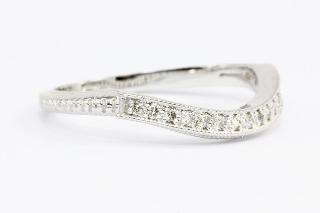 14K White Gold Half Eternity Diamond Band Ring Jacket Size 8 - Queen May