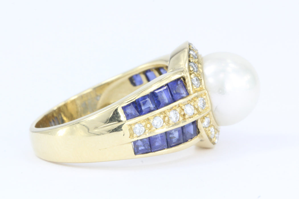 18K Gold Blue Sapphire, Diamond & Pearl American Contemporary Ring - Queen May