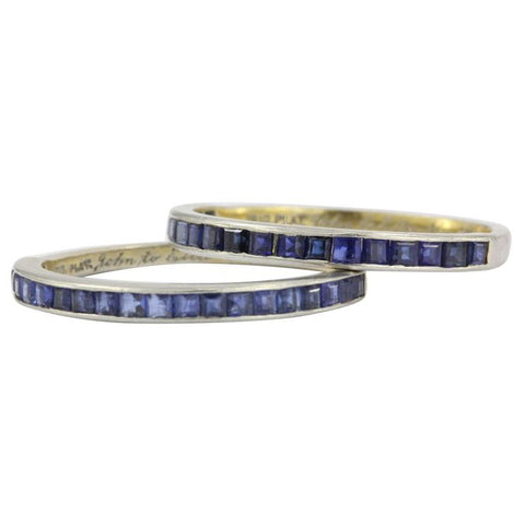 Tiffany & Co Platinum Sapphire Half Eternity Band Rings Pair c.1945