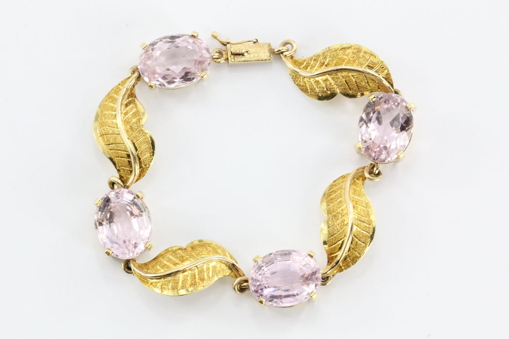 Vintage Gold 56 Carat Morganite Pendant,  30 Carat Kunzite Bracelet w/ Earrings - Queen May