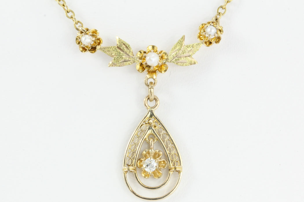 Art Deco 10K Gold Diamond Pearl Lavalier Necklace c.1930 - Queen May