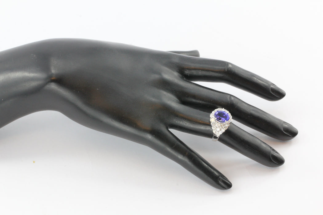 18K White Gold 3 carat Tanzanite 1.5ct diamonds GH vs2/si1 Ring - Queen May