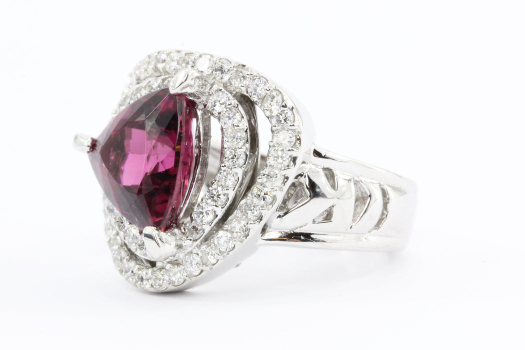 18K White Gold 3 Carat Rubellite Tourmaline Diamond Accent Ring - Queen May