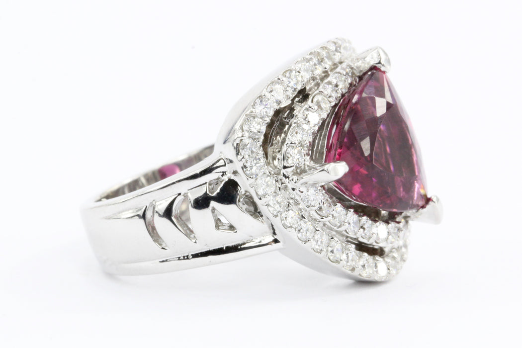 18K White Gold 3 Carat Rubellite Tourmaline Diamond Accent Ring