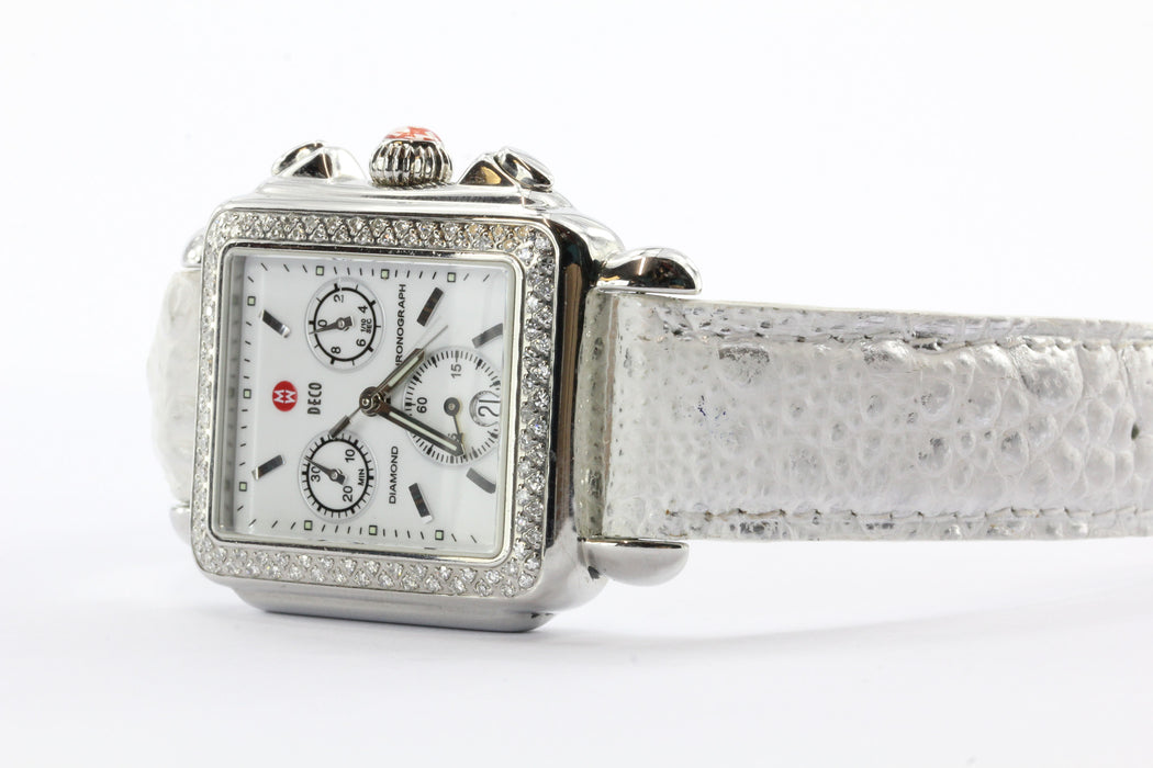 Michele Deco 108 .60 CTW Diamond Bezel White Diamond Chronograph Siwss Watch - Queen May