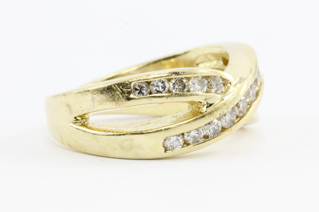 14K Gold Diamond Crossover X Ring Band Size 5.25