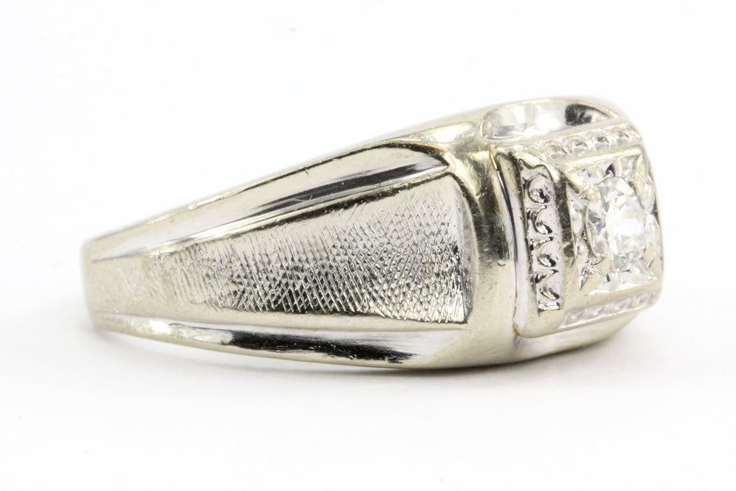 14K White Gold Retro Transition Cut Diamond Men's Ring c.1940's - Queen May