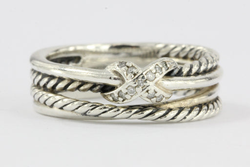 David Yurman Sterling Silver & Diamond Cable X Ring Size 5.75
