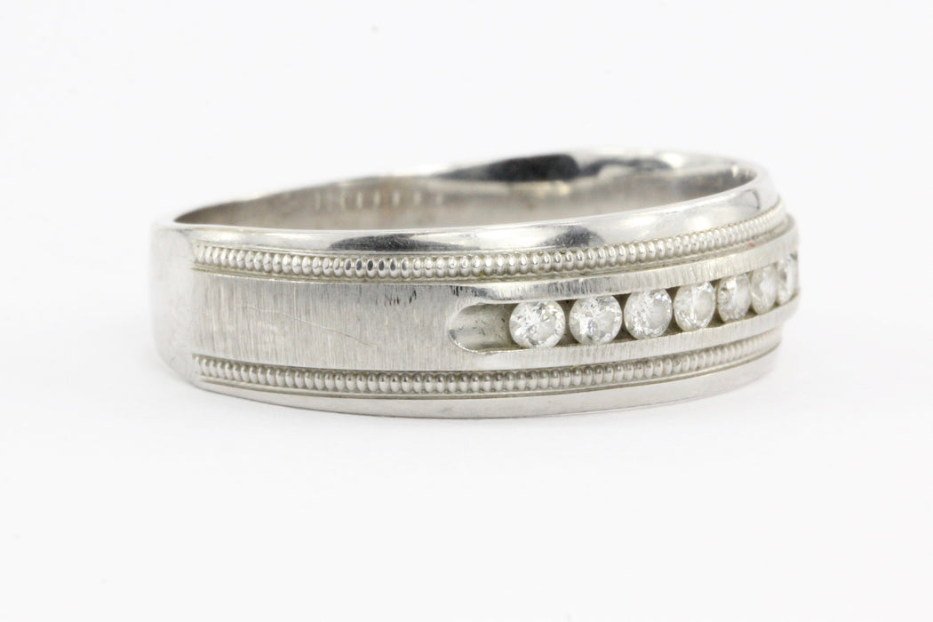 10K White Gold Diamond Mens Band Ring .25 CTW Size 10.75