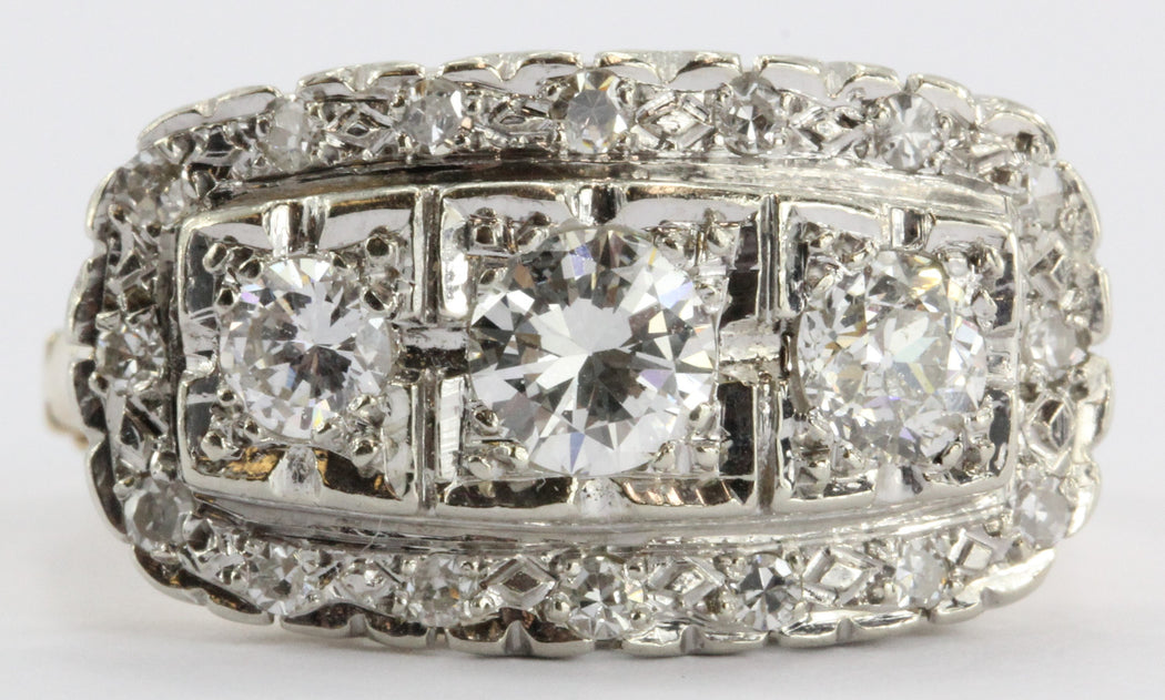 Antique 14K Gold 1.5 Carat Diamond Cluster Ring - Queen May