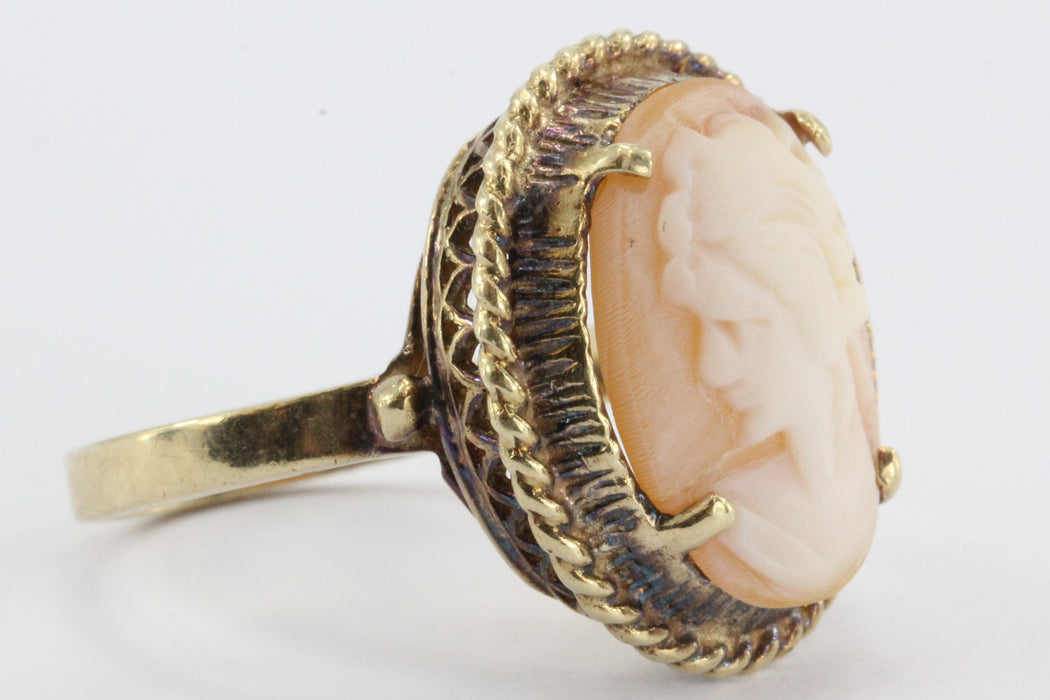 10K Gold Hand Carved Victorian Revival Carved Shell Cameo Ring - Queen May