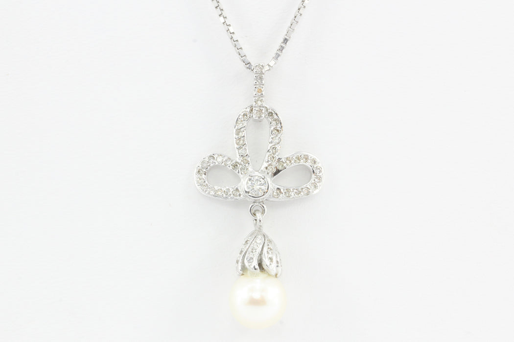 18K White Gold Diamond & Pearl Trefoil Drop Necklace