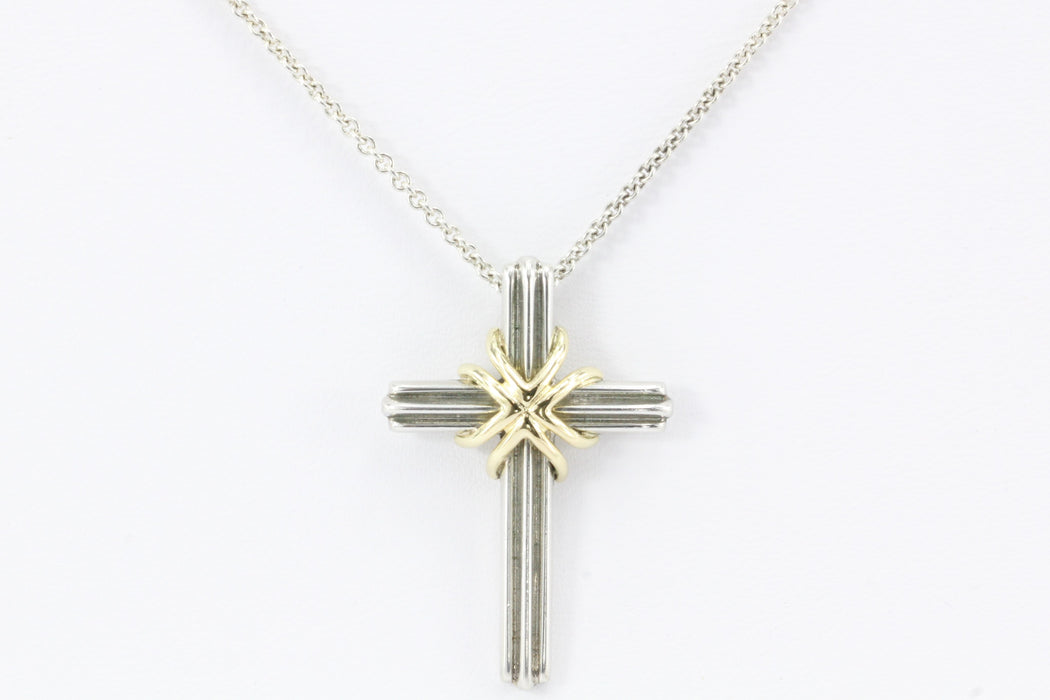 Tiffany & Co Sterling Silver & 18K Gold Cross Pendant & Necklace - Queen May