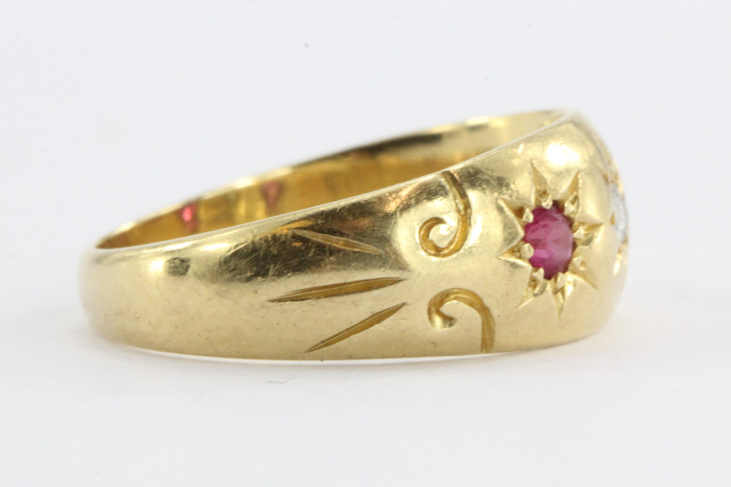 Antique Edwardian English 18K Gold Diamond & Ruby Gypsy Ring signed WKK 1911 - 1912 - Queen May