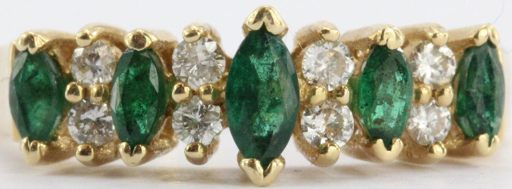 Vintage 14K Gold Emerald & Diamond Band Ring 1/2 CTW Signed BH - Queen May