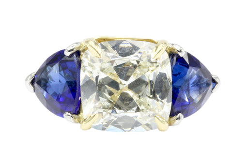 18K White Gold & Platinum 3.11 GIA M I1 1.5ct Natural Sapphire Ring - Queen May