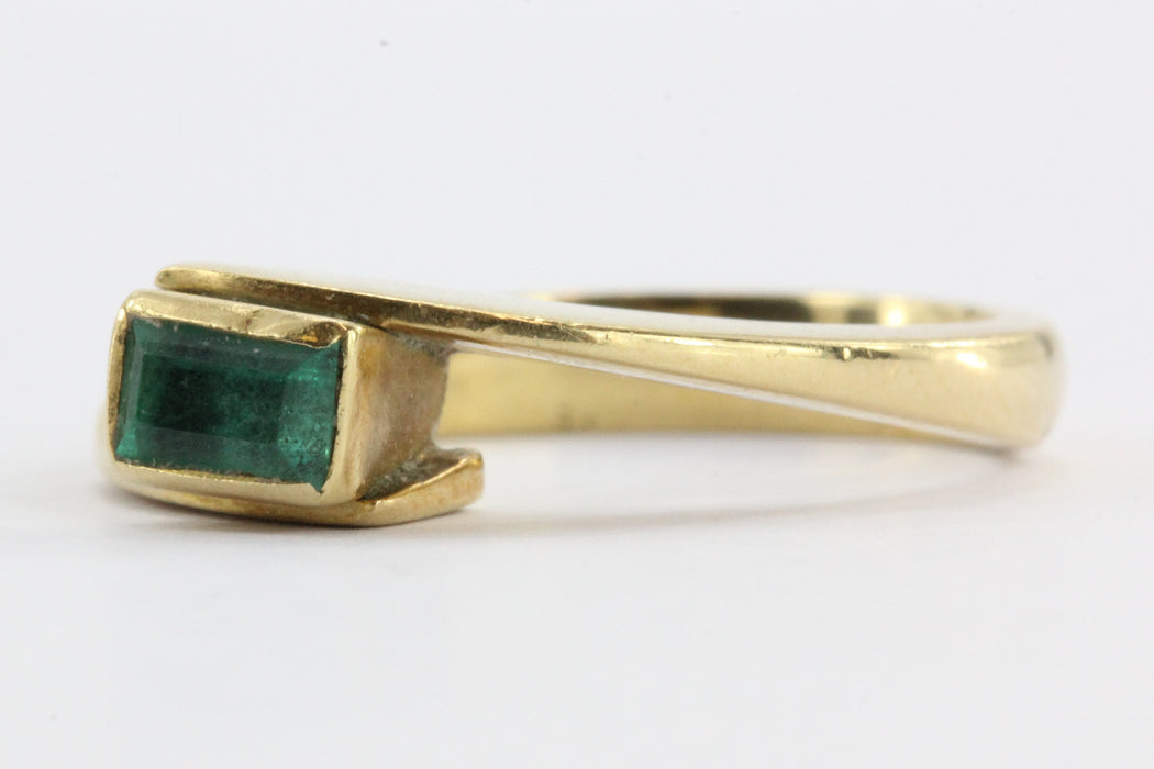 Vintage 18K Gold Colombian Emerald .25 Carat Ring - Queen May