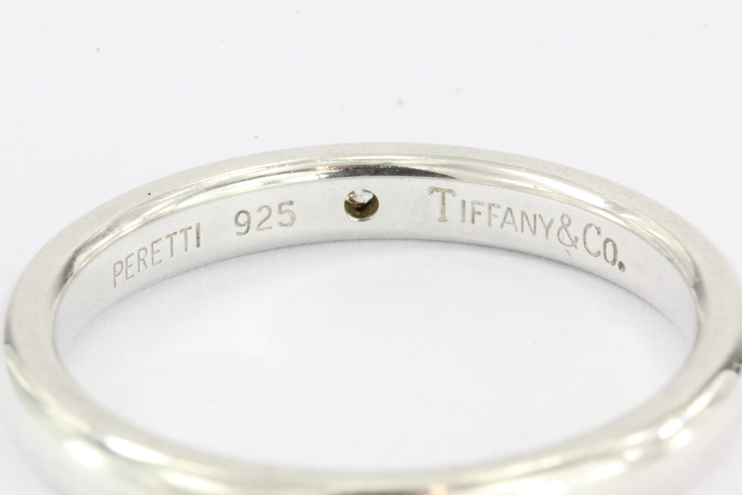 Tiffany & Co Sterling Silver Diamond Elsa Peretti Band Ring Size 7 - Queen May