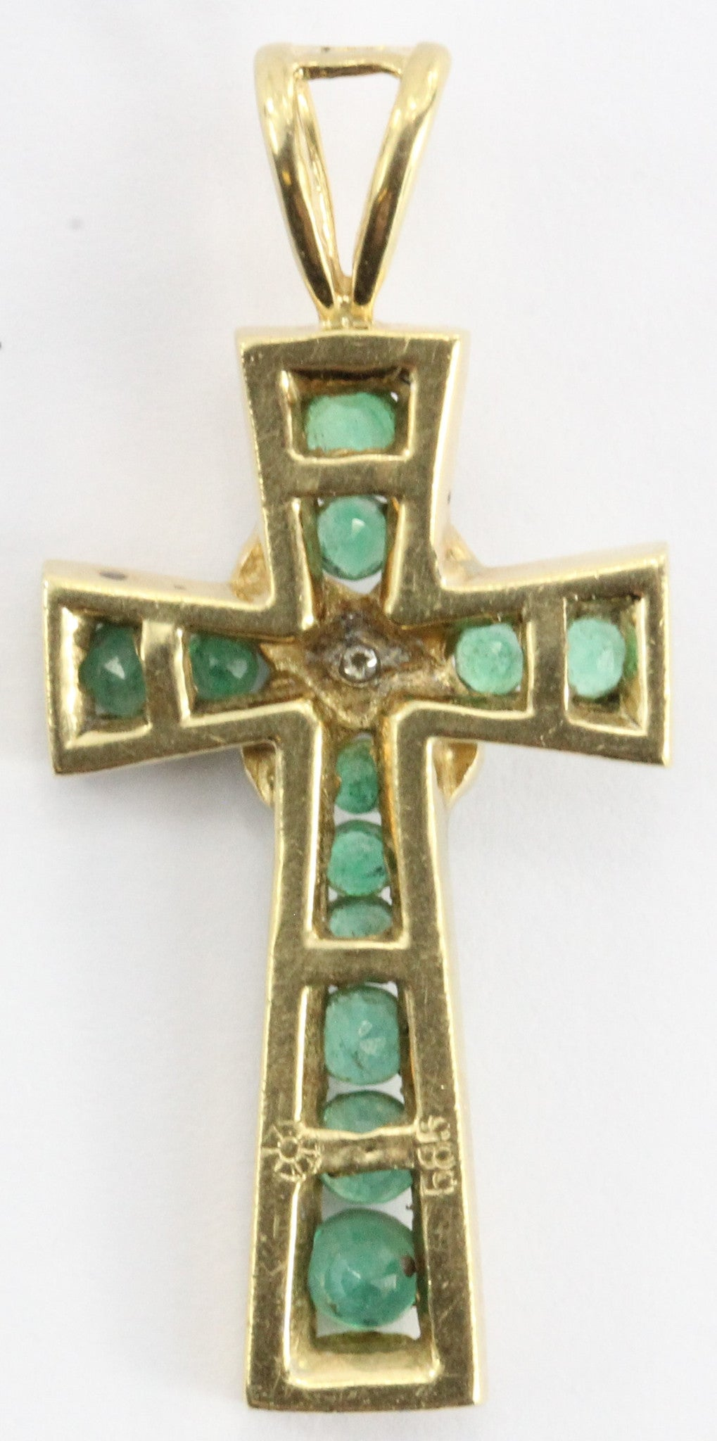 Vintage 14K Gold Columbian Emerald & Diamond Cross Pendant - Queen May