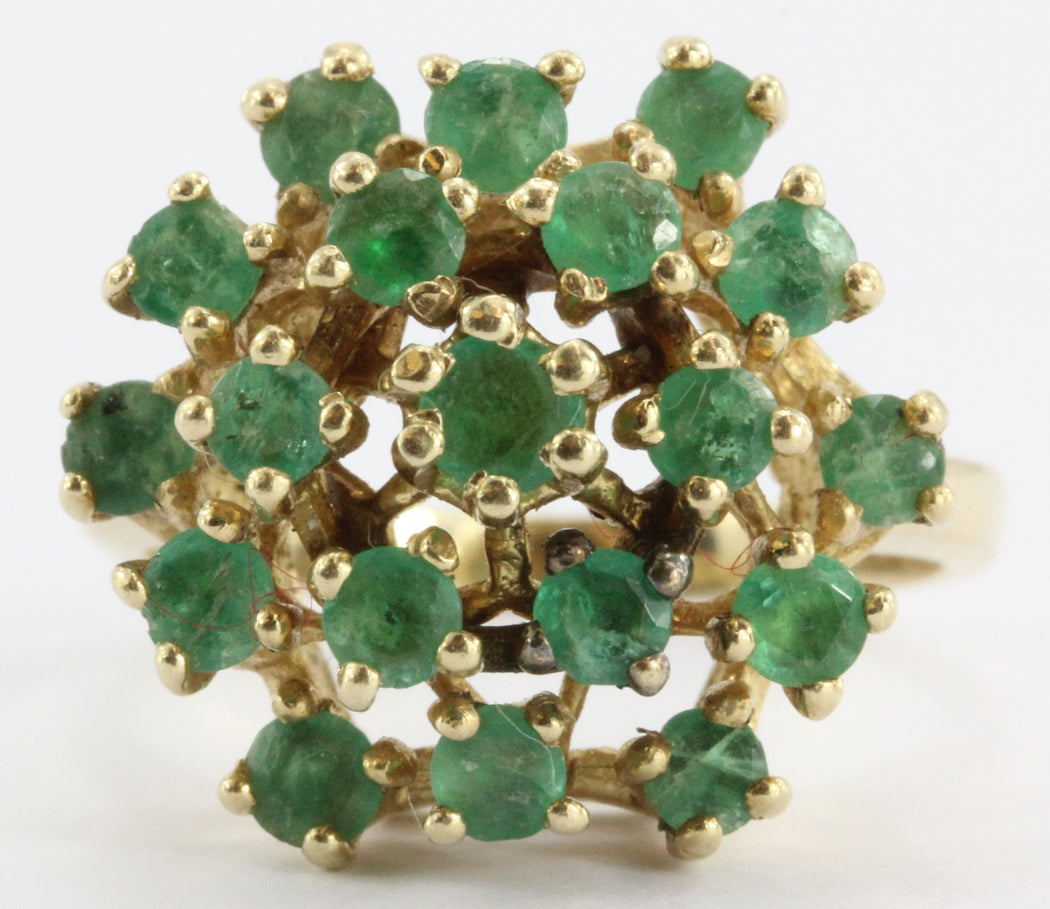 Vintage 14k Gold & Emerald Cluster Cocktail Ring Signed - Queen May