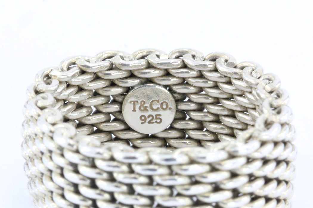 Tiffany & Co Sterling Silver Somerset Mesh Ring Size 9 - Queen May