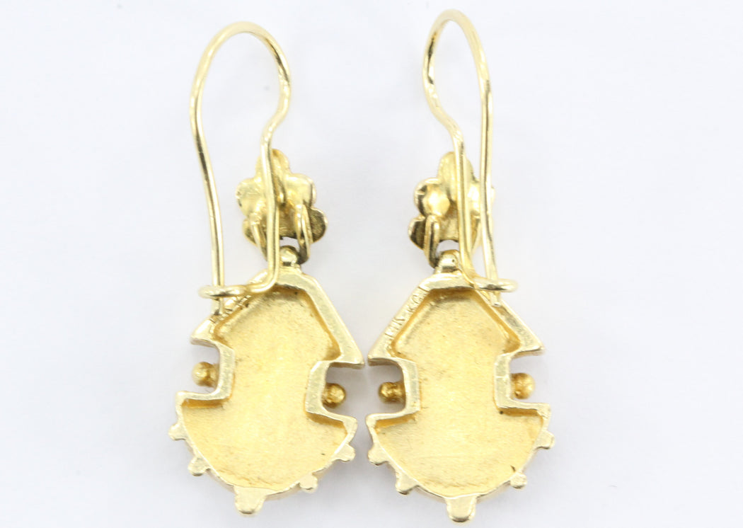 Victorian Style 14K Gold Seed Pearl Dangle Earrings - Queen May