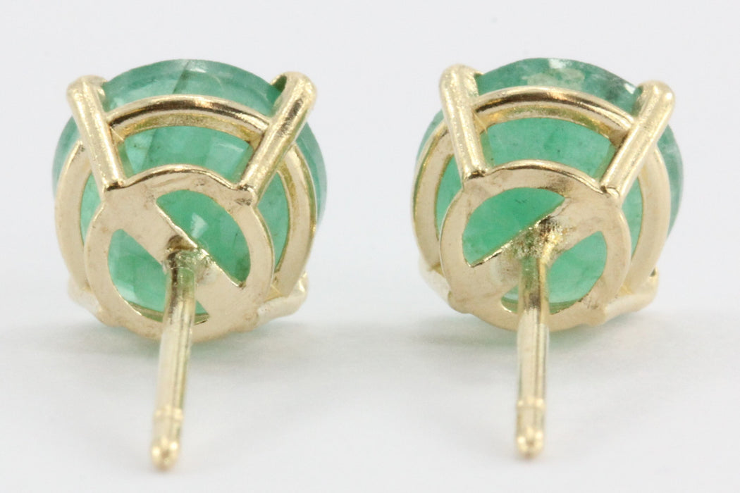 14K Gold 1.3 TCW Classic Emerald Earrings Studs