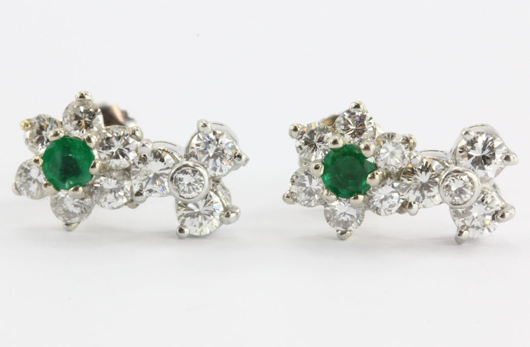 Antique 14K White Gold & Platinum Diamond & Emerald Earrings - Queen May
