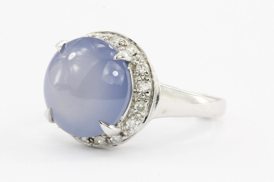 14k White Gold Lavender Chalcedony & Diamond Halo Ring