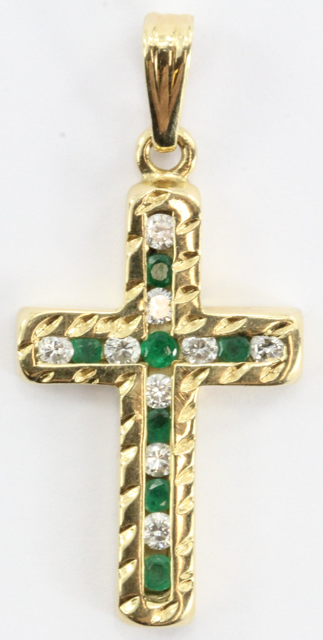 Vintage 18K Gold Diamond & Emerald Cross Pendant 1/2 Carat Total Weight - Queen May