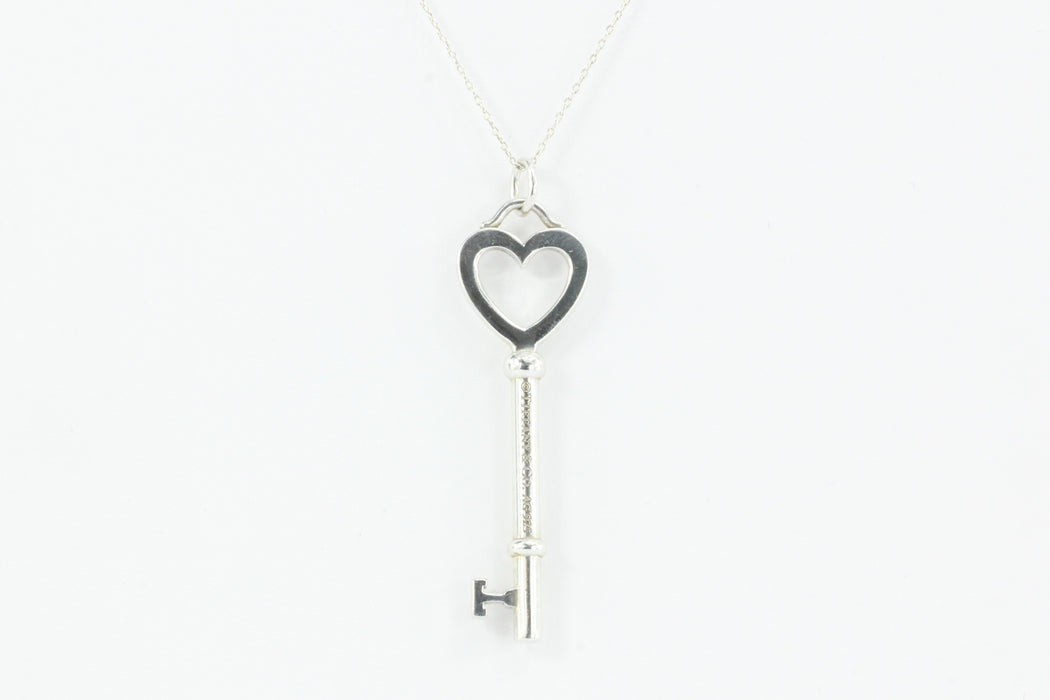 Tiffany co sterling silver 2 heart key pendant 23 chain tiffany co sterling silver 2 heart key pendant aloadofball Image collections