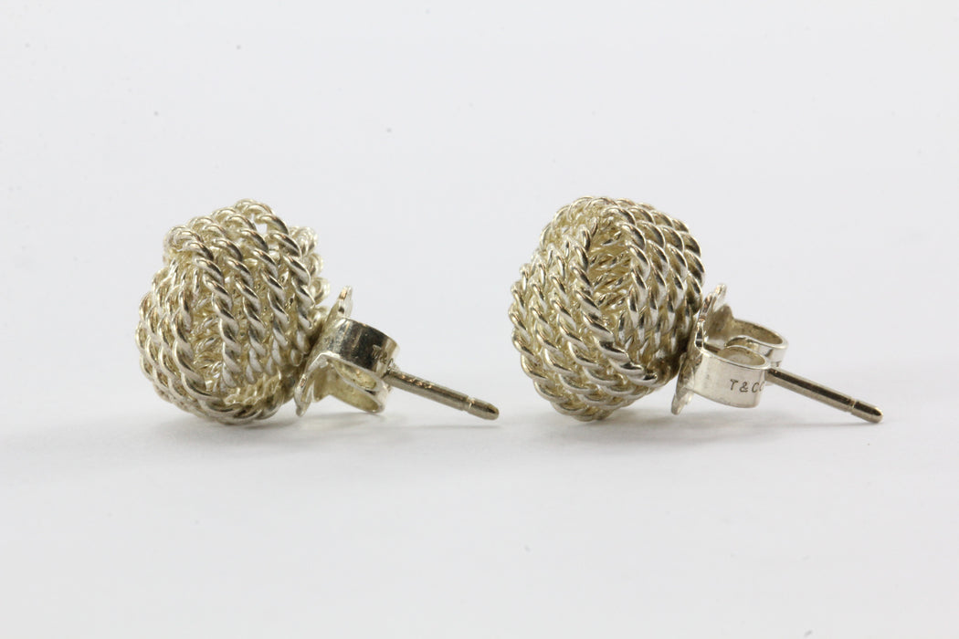Tiffany & Co Sterling Silver Somerset Knot Mesh Stud Earrings - Queen May