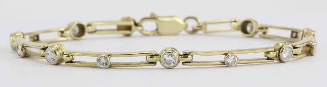 14K Gold Modernist Open Link Diamond Tennis Bracelet