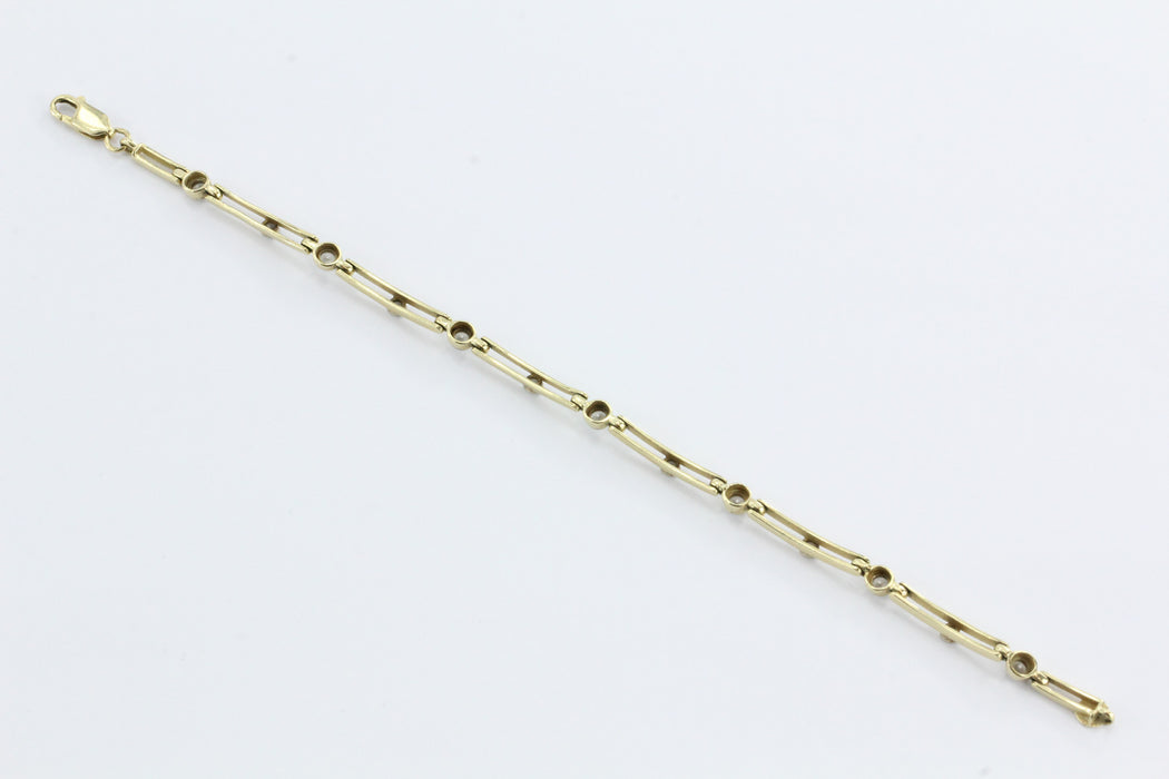 14K Gold Modernist Open Link Diamond Tennis Bracelet - Queen May
