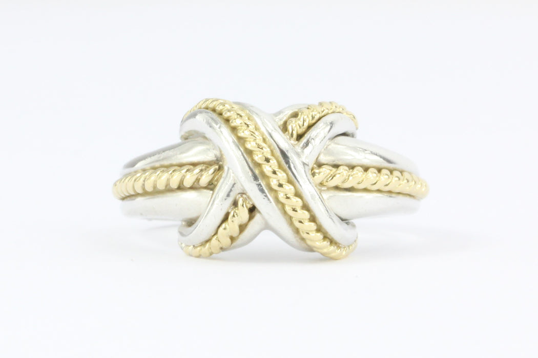 Tiffany Co Sterling Silver 18k Gold X Lovers Knot Ring Size 6 75 Queen May