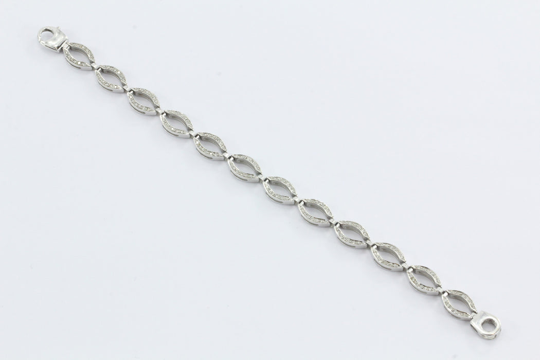 Vintage 14K White Gold & Diamond Oval Link Tennis Bracelet - Queen May
