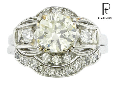 Antique Art Deco 1.3 Carat (1.71 CTW) Diamond & Platinum Engagement Ring Set