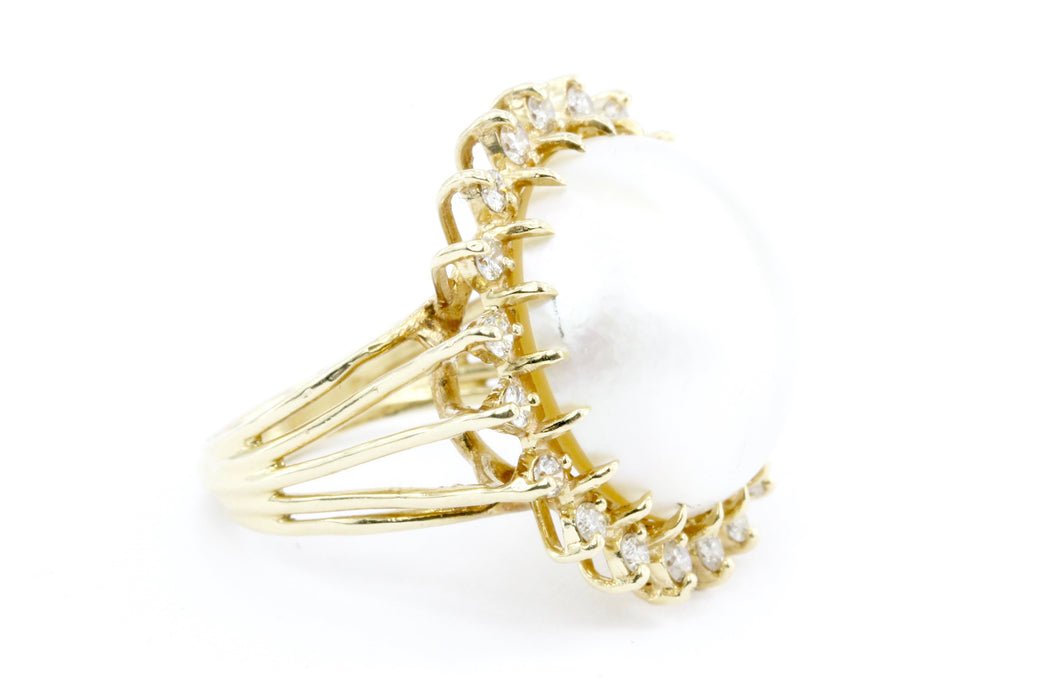14k Gold Mabe Pearl & Diamond Halo Ring