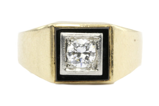 Retro 14K Gold & Transition Diamond & Onyx Ring by Rosenthal & Kaplan c.1930's - Queen May