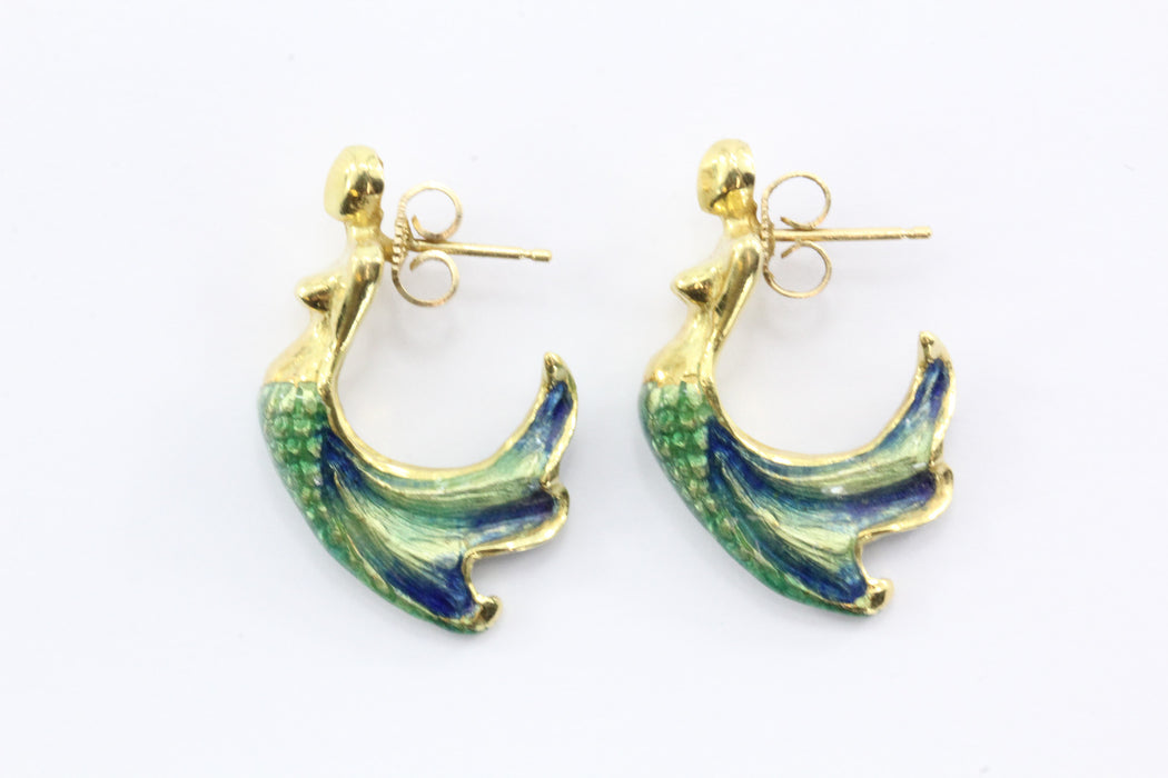 18K Gold  Blue & Green Enamel Figural Mermaid Earrings - Queen May
