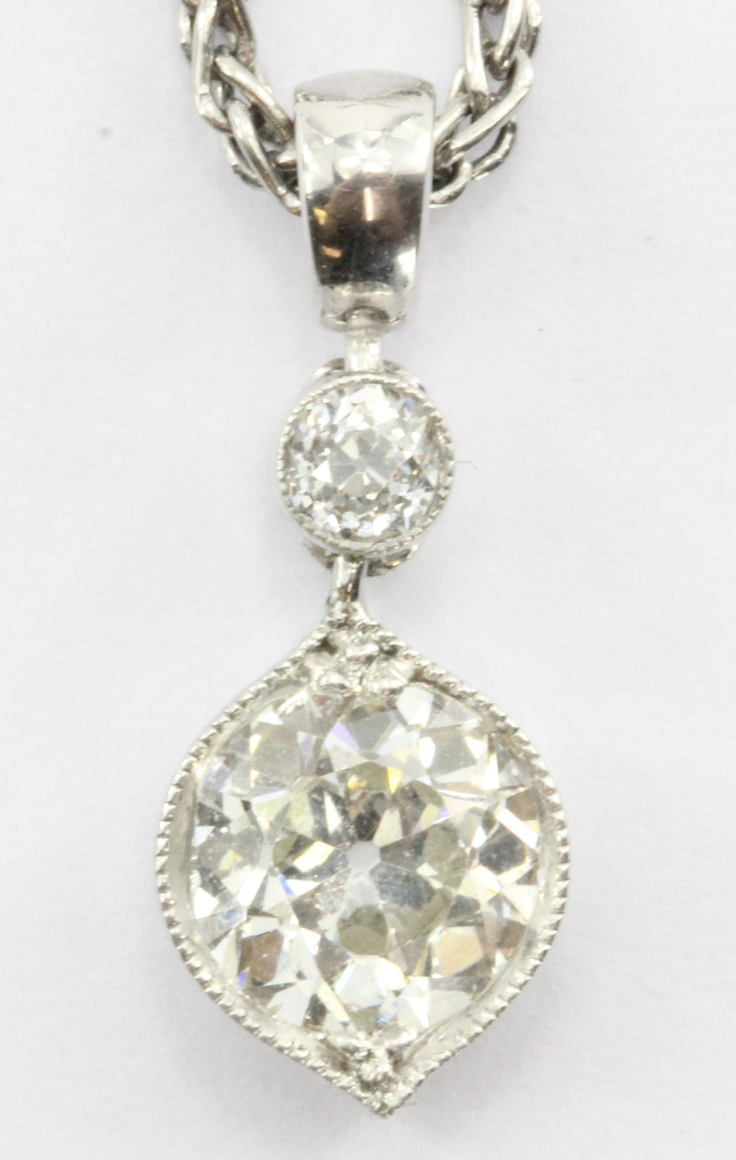 Vintage .80 Carat Old European Cut Diamond Diamond Pendant & Platinum Chain - Queen May