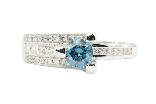 14K White Gold Blue Diamond Solitaire w/ White Diamond Accents Engagement Ring