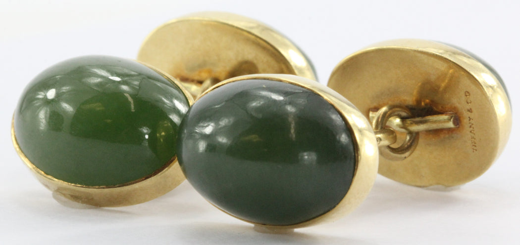 Antique Tiffany & Co 18K Gold & Green Jade Cufflinks - Queen May