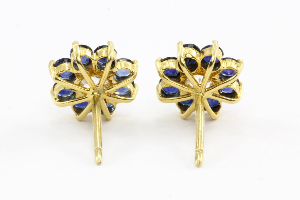 14k Gold Sapphire & Diamond Flower Earrings - Queen May