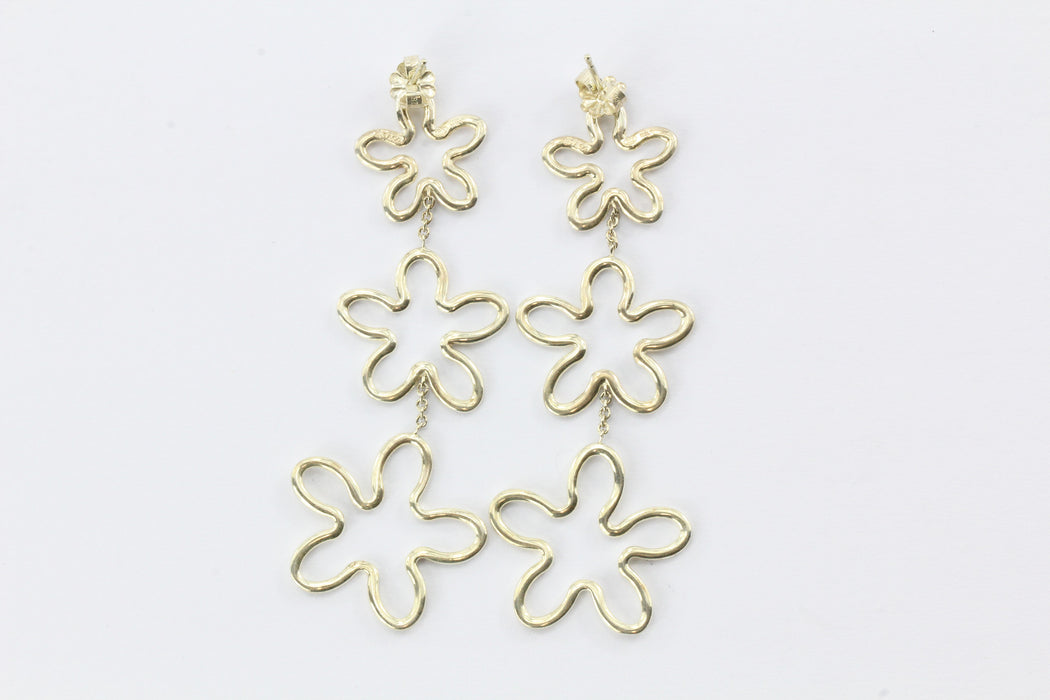 Tiffany & Co Sterling Silver RARE Plumeria Earrings - Queen May