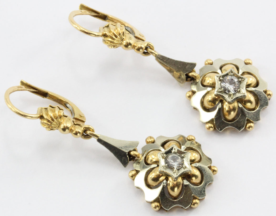 Antique 18K White & Yellow Gold White Topaz Dangle Earrings - Queen May