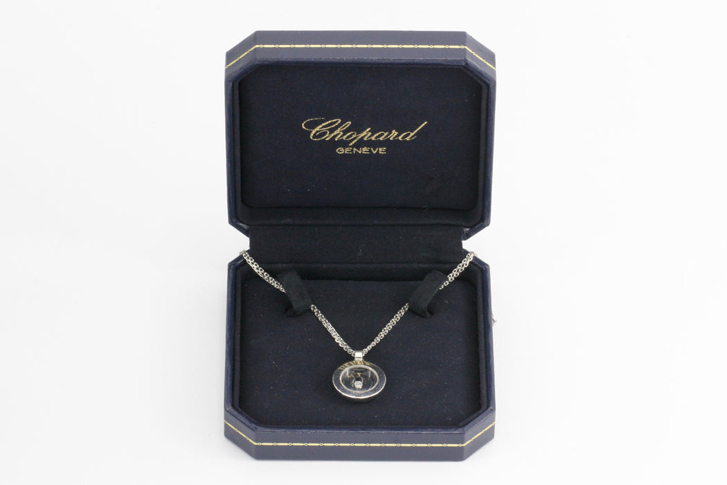 18K White Gold Chopard Floating Diamond Pendant