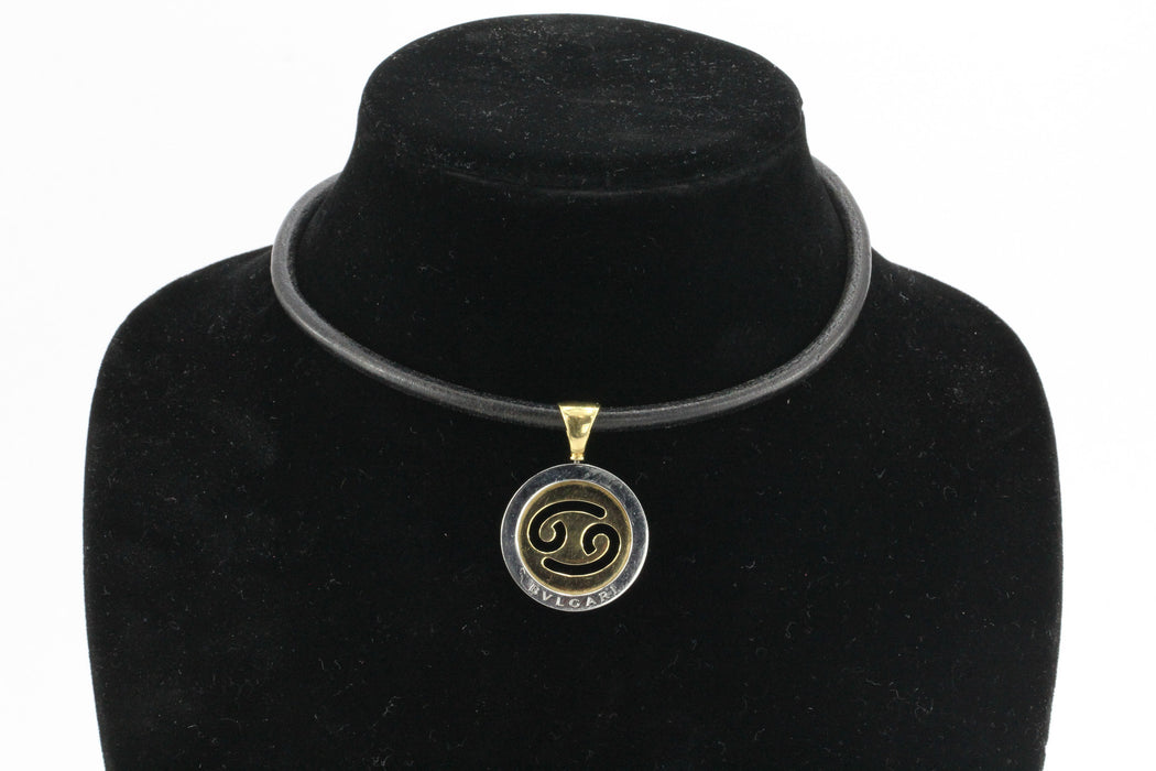 Bulgari Tondo Cancer Zodiac 18K Gold, Stainless Steel Pendant & Leather Necklace - Queen May